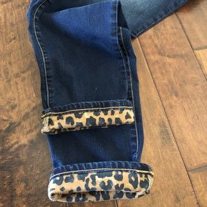 Chico's Dark Denim with Leopard Detail Jeans